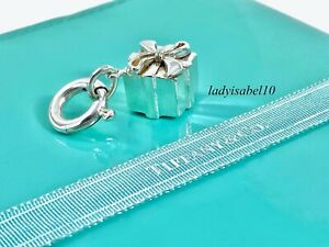 Tiffany & Co Silver Gift Box Bow Charm w Spring Ring for Bracelet Necklace 2012D