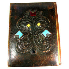 Vintage Antique Tooled Leather Note Book Blotter Cover Porcelain Pieces Inlaid