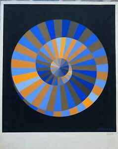"""1972 Olympic Victor Vasarely Screen Signed """"Symbol"""" Original 15 color Serigraph"""