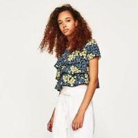 NEW Zara Basic Blue Floral Tiered Crop Top Short Sleeve Extra Small XS