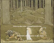 Old Vintage 1913 Fantasy Princess and Trolls Painting Photo Fairytale Wall Art