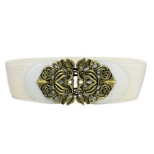 Hot Women Wide Waist Belt Vintage Metal Flower Elastic Stretch Buckle Waistband