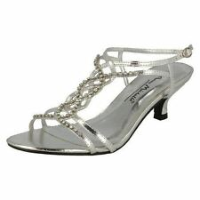 Ladies Anne Michelle Diamante Evening Sandals L3879 K Silver Metallic 7 UK Regular