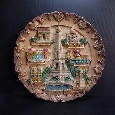 Assiette ronde art déco Paris Tour Effel vintage céramique marron France N7351