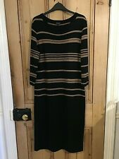 JAEGER Black Camel Stripe JUMPER DRESS Cashmere Angora Wool Mix LARGE / UK 14-16