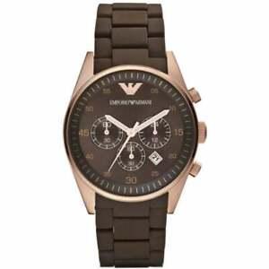 Womens Emporio Armani AR5891 Brown Rose Gold Silicone Chronograph Genuine Watch