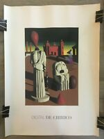 Rare Vintage Original Early Computer Graphics Poster -Surreal Digital De Chirico