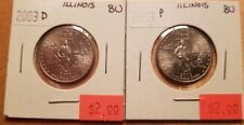Set of 2 x 2003 US State Quarter ILLINOIS D & P Brilliant Uncirculated (BU)