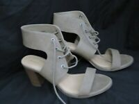 Steve Madden Girl Taupe Faux Suede High Block Heels Lace Up Open Toe Size 11