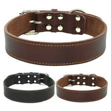 Real Leather Heavy Duty Dog Collars for Large Breeds Rottweiler Black Brown S-L