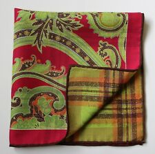 Double sided pocket square handkerchief. Magenta & green. Paisley Plaid pattern