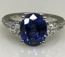 Oval Ceylon Blue Lab Created  Sapphire, Diamond and  Moissanite Ring #4954