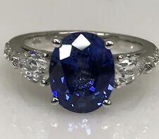 Oval Ceylon Blue Lab Created  Sapphire, Diamond and  Moissanite Ring #4954