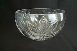 RARE SIGNED CARTIER LARGE CRYSTAL GLASS  BOWL FLORAL DESIGN EXCELLENT CONDITION