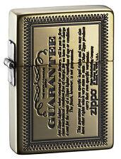 Zippo 1935 Replica Guarantee Card Design Antique Brass Etching Japan Limited F/S