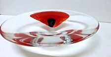 Heavy Art Glass Bowl - Clear Glass with Poppy - Signed