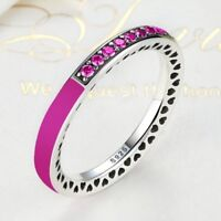 Sterling Silver Pink Radiant Hearts Ring With Pink Cubic Zirconia Stones