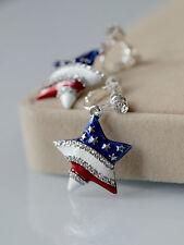 Boucles d'Oreilles Clips Argenté Etoile Drapeau Américain Bleu Blanc Rouge B8