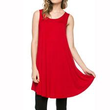 USA Women Long Tunic Casual Dress Tank Top Sleeveless Scoop Neck Shirt S M L XL