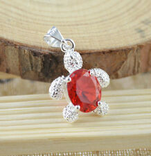 Red Crystal Rhinestone Turtle Pendant Silver Necklace Chain Ocean Sea Tortoise