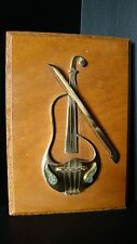 Handcrafted Israel Brass Violin & Bow W/Stone Inlay Mounted On Wood Wall Hanging
