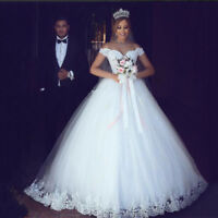 Lace Appliques Ball Gown Off Shoulder Short Sleeve Wedding Dresses Bridal Gowns