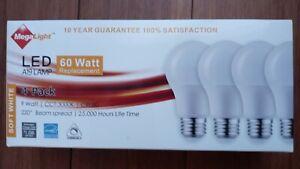 Lightbulbs LED A19 MegaLight 9 watt/replacement 60 Watts 4 Pack 25,000 hrs life