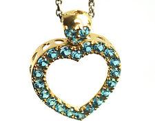 Blue Zircon 14k Gold Heart Pendant Of Love & luck Fine Jewelry