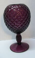 Purple Amethyst Glass Pedestal Vase with Diamond Pattern Vintage