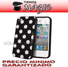 Funda carcasa LUNARES y PROTECTOR PANTALLA compatible iPhone 4 4S circulos NEGRA