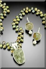 Semi Precious Jewelry set  Rhyolite Necklace and earrings Handcrafted in USA