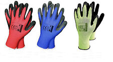 12 PAIRS LATEX WORK GLOVES RUBBER PALM GRIP NYLON LINER