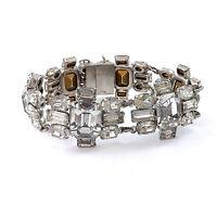 "Art Deco Emerald Cut & Oval Rhinestone White Rhodium Plated 6.5"" Bracelet"