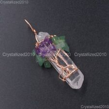 Natural Gemstone Clear Quartz Crystal Rock Stick Life Tree Pendant Healing Beads