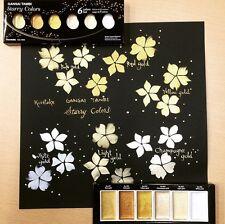 "Kuretake Gansai Tambi Watercolour Paint ""Starry Colors"" 6 Shades of Gold"