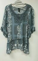 NEW NWOT SACRED THREADS EMBELLISHED CROCHET 3 /4 SLEEVE TUNIC BLOUSE TOP, L (M?