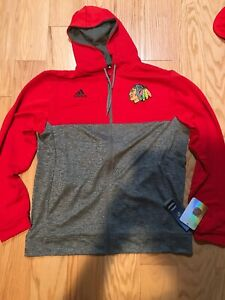 Adidas NHL Chicago Blackhawks Red Performance Full-Zip Hood Size XL BNWT 677FA