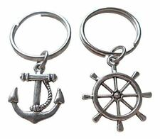 Anchor & Ships Helm Keychain Set- You Be My Anchor And I'll Steer You Straight