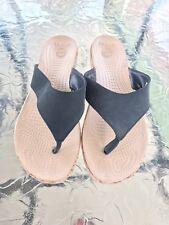 Crocs 11 Flip Flops Croc Wedge Cork Black Sandals Euc