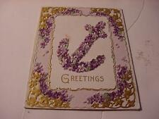 Vintage c1907-1913 English CHRISTMAS Folder Card w/Anchor+ Border of VIOLETS
