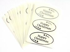 Happy Christmas Stickers Shiny Silver on Clear Labels for Cards Envelopes Craft