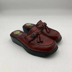 Earth Shoe Wo's Sz 6 Daphne Gelron 2000 Leather Mule Burgundy Tassels Shoes $129