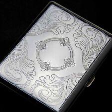 Etched Metal 20 Cigarette Case Tobacco Cigarette Holder Comtainer Box Silver