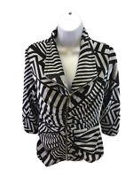 Joseph Ribkoff Women's Black/Gray 3/4 Sleeve Full Zip Jacket Sz 6