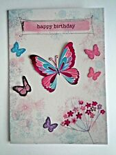 "PAPER MAGIC ~ EMBELLISHED ""HAPPY BIRTHDAY"" BUTTERFLIES GREETING CARD + ENVELOPE"