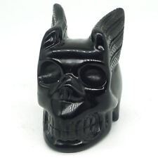 "2""Wing Skull Black Obsidian Carved  Crystal Healing Halloween Ornament Decor2344"