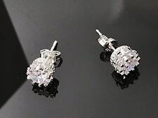 STERLING SILVER CUBIC ZIRCONIA CZ STUD EARRINGS ROUND CLEAR 7mm