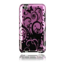 For Apple iPod Touch 4 Protector Hard Case Back Phone Cover Purple Black Swirl