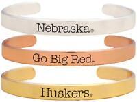 Nebraska Cornhuskers Go Big Red Tri Tone Bangle Bracelet Set Choose 1 or 3 NU