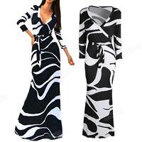 Sexy Womens 3/4 Sleeve Dress V-Neck Stripe Wrap Waist Long Cocktail Maxi Dresses